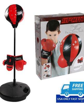 Kids Punching Bag Toy Set Adjustable Stand Boxing Glove Speed Ball
