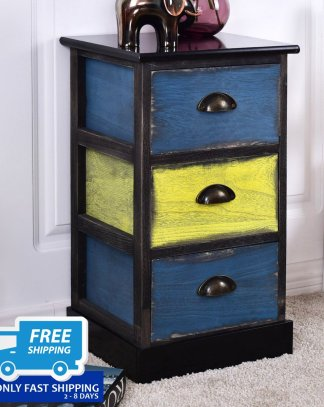 Stylish Wooden Nightstand with 3 Storage Drawers