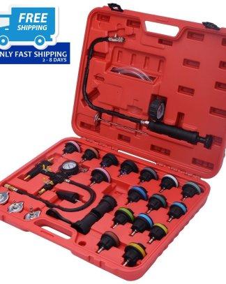 27 pcs Radiator Pressure Tester Vacuum-Type Cooling System Refill Kit w/Case