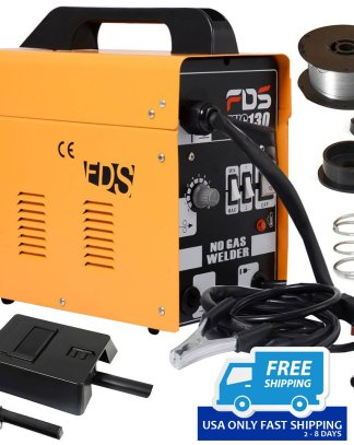 Yellow MIG 130 Welder Flux Core Wire Automatic Feed Welding Machine w/ Free Mask