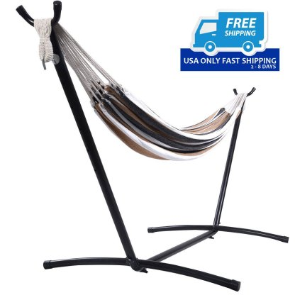 Double Hammock with Steel Stand and Carry Bag