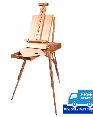 Portable Folding French Wooden Easel with Sketch Box and Tripod