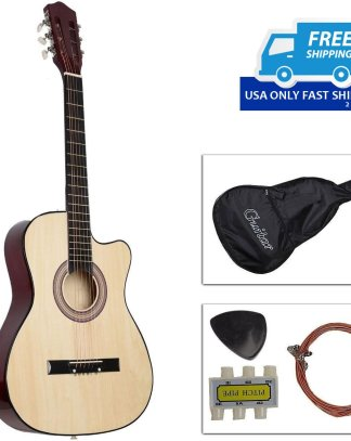 Cutaway Design Acoustic Guitar with Guitar Case, Strap, Tuner Pick Strings