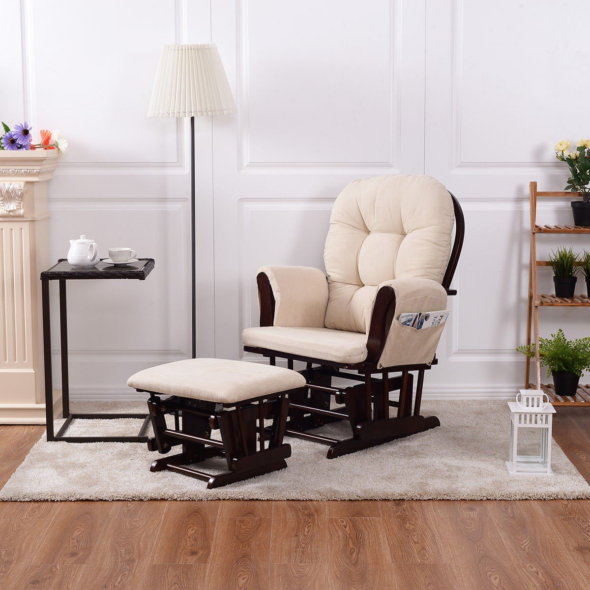 Baby Nursery Rocking Chair with Adjustable Backrest + Ottoman