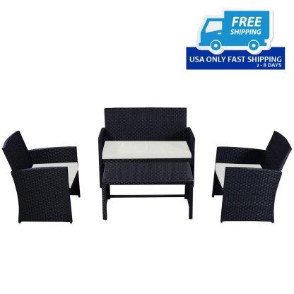 4 pcs Patio Garden Wicker Rattan Cushioned Sofa