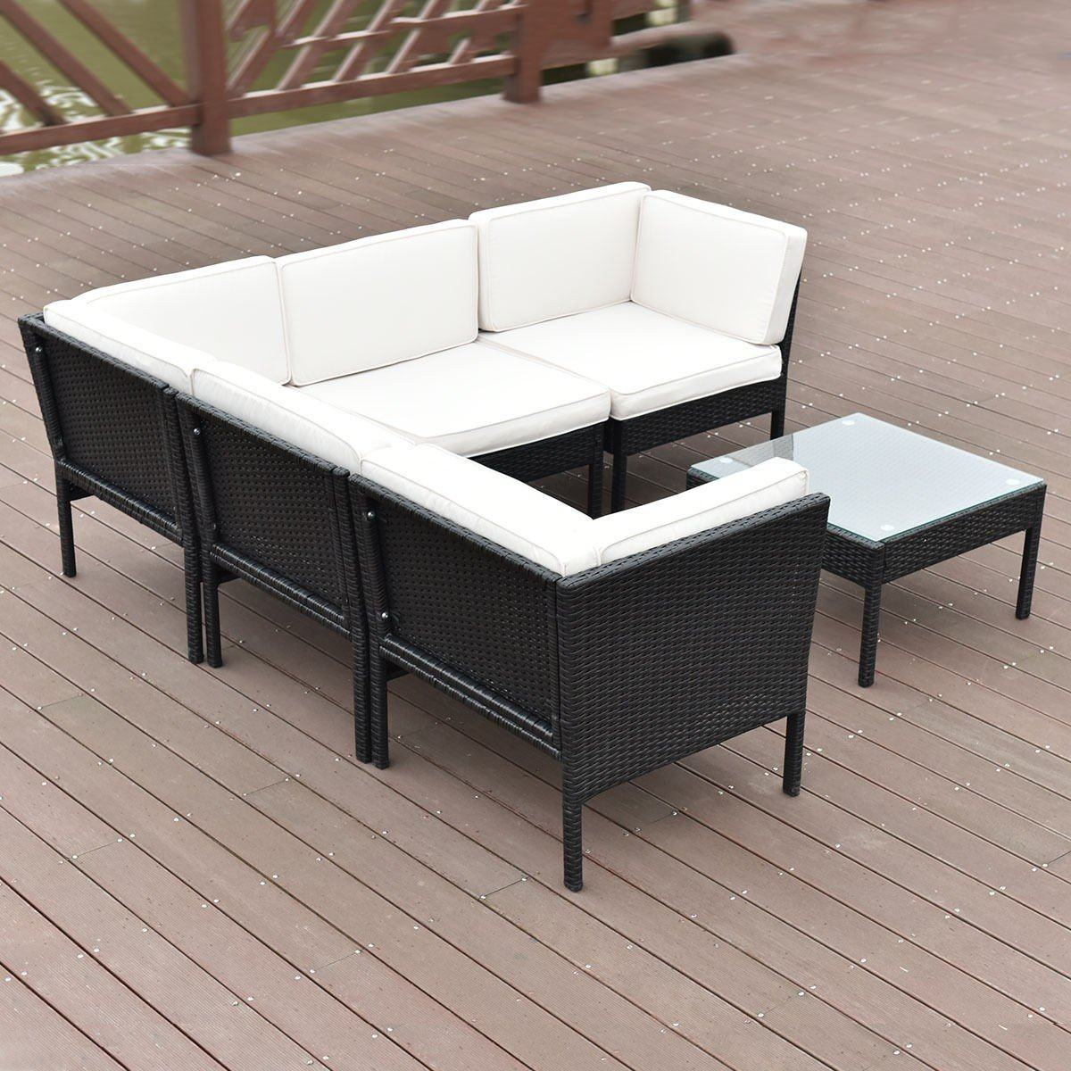 6 pcs Right Angle Rattan Wicker Patio Furniture Set By Choice Products
