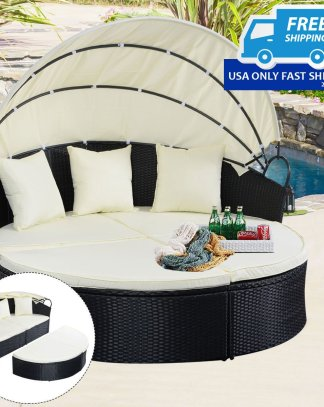 Outdoor Patio Rattan Round Retractable Canopy Daybed