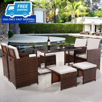 9 pcs Outdoor Rattan Wicker Cushioned Sofa