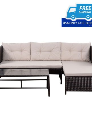 3 pcs Outdoor Patio Rattan Cushioned Sofa and Table Set