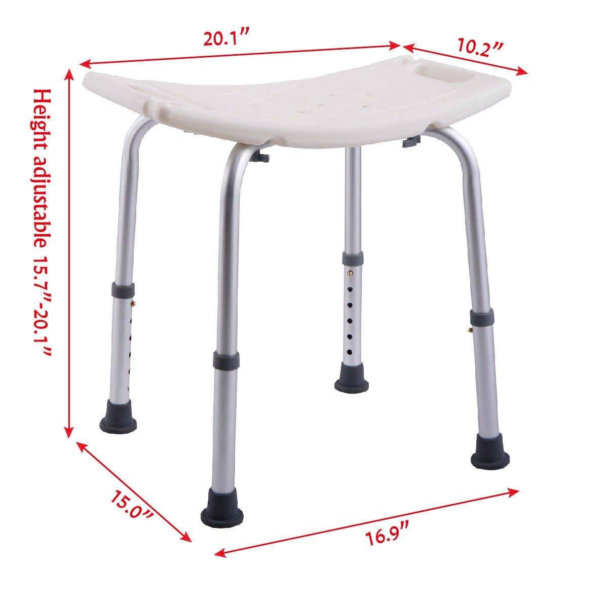 6 Height Adjustable Bath Shower Chair Medical Seat Stool Bath Tub ...