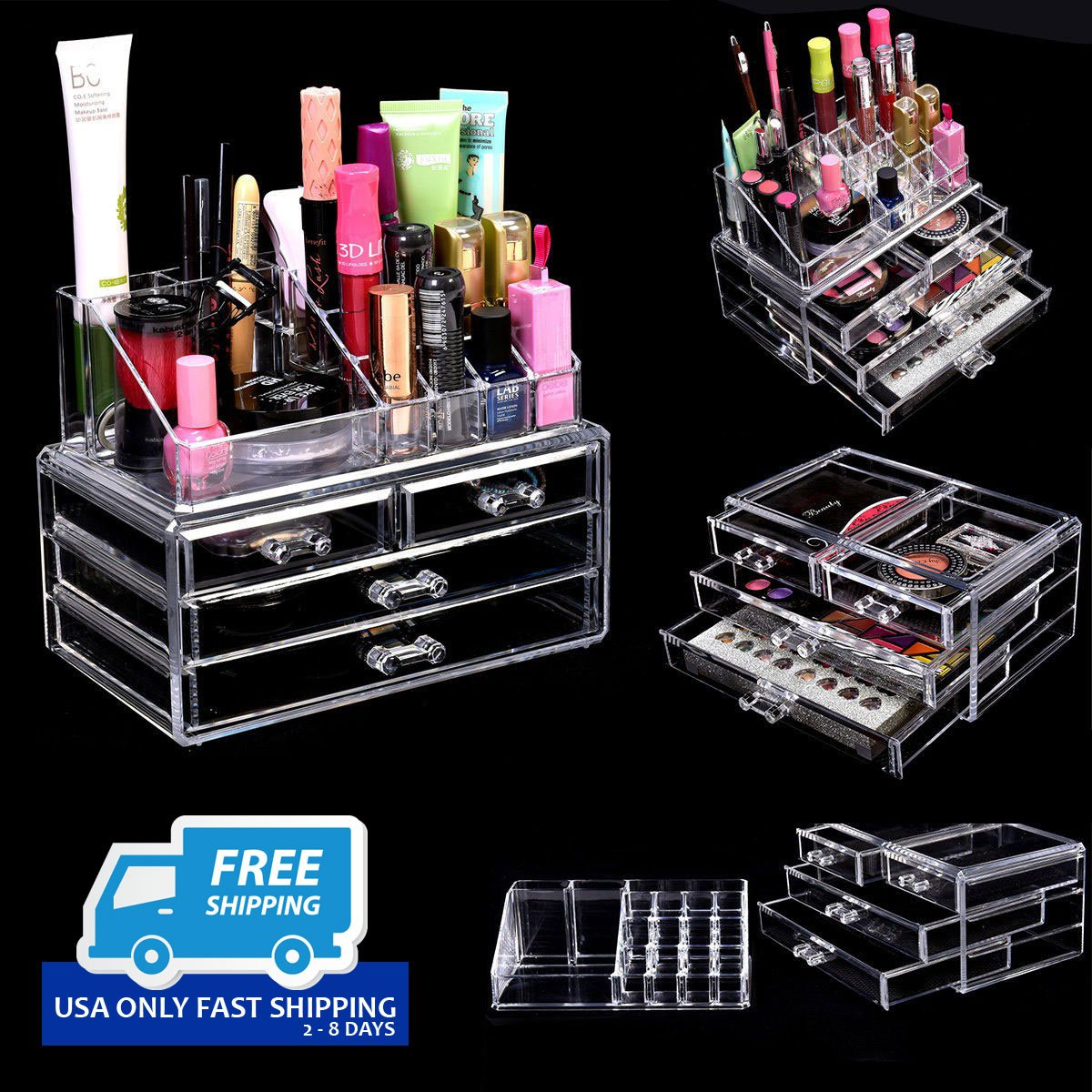 Acrylic Makeup Cosmetic Organizer 4 Drawers Jewelry Storage Display Holder  Box