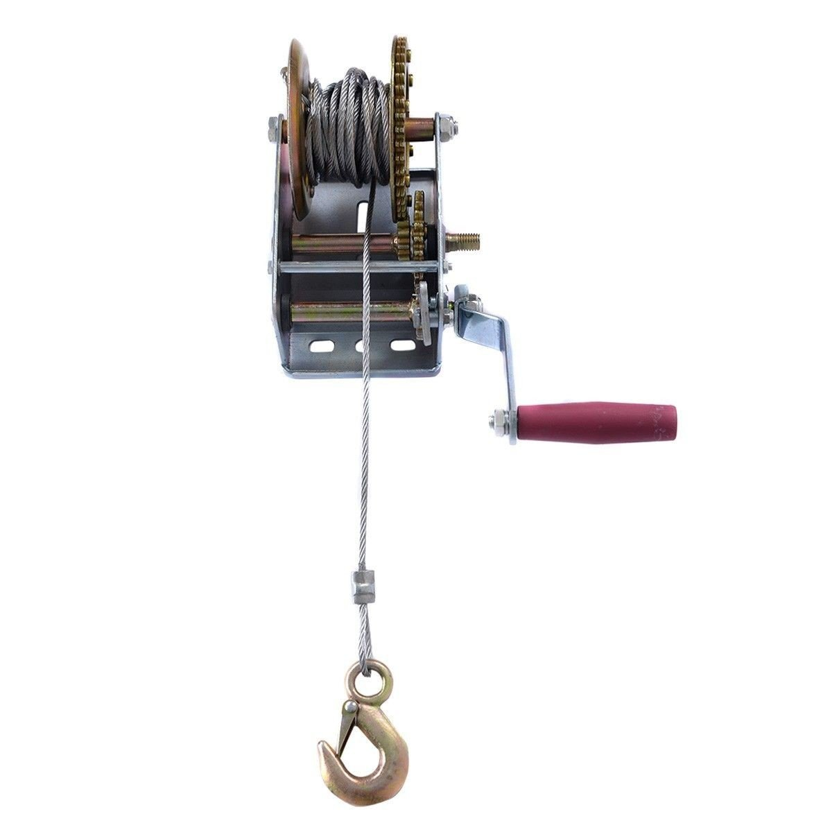 New 2000lb 1 Ton Hand Crank Steel Gear Cable Wire Winch Boat Atv How To A Trailer W