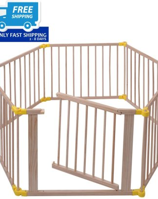 Baby Playpen 6 Panel Foldable Wooden Frame Kids Safety Play Fence In/Outdoor