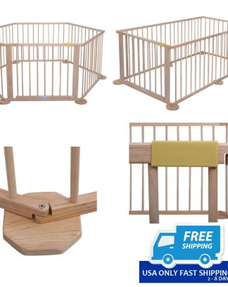 Baby Playpen 6 Panel Foldable Wooden Frame Kids Play Center Yard Indoor & Outdoor