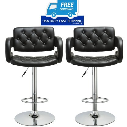 2 pcs PU Leather Adjustable Pub Chair Bar Stool