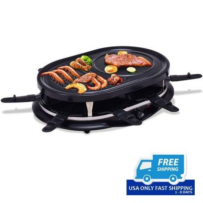 5.7 lbs Black Oval Non Stick Electric Grill