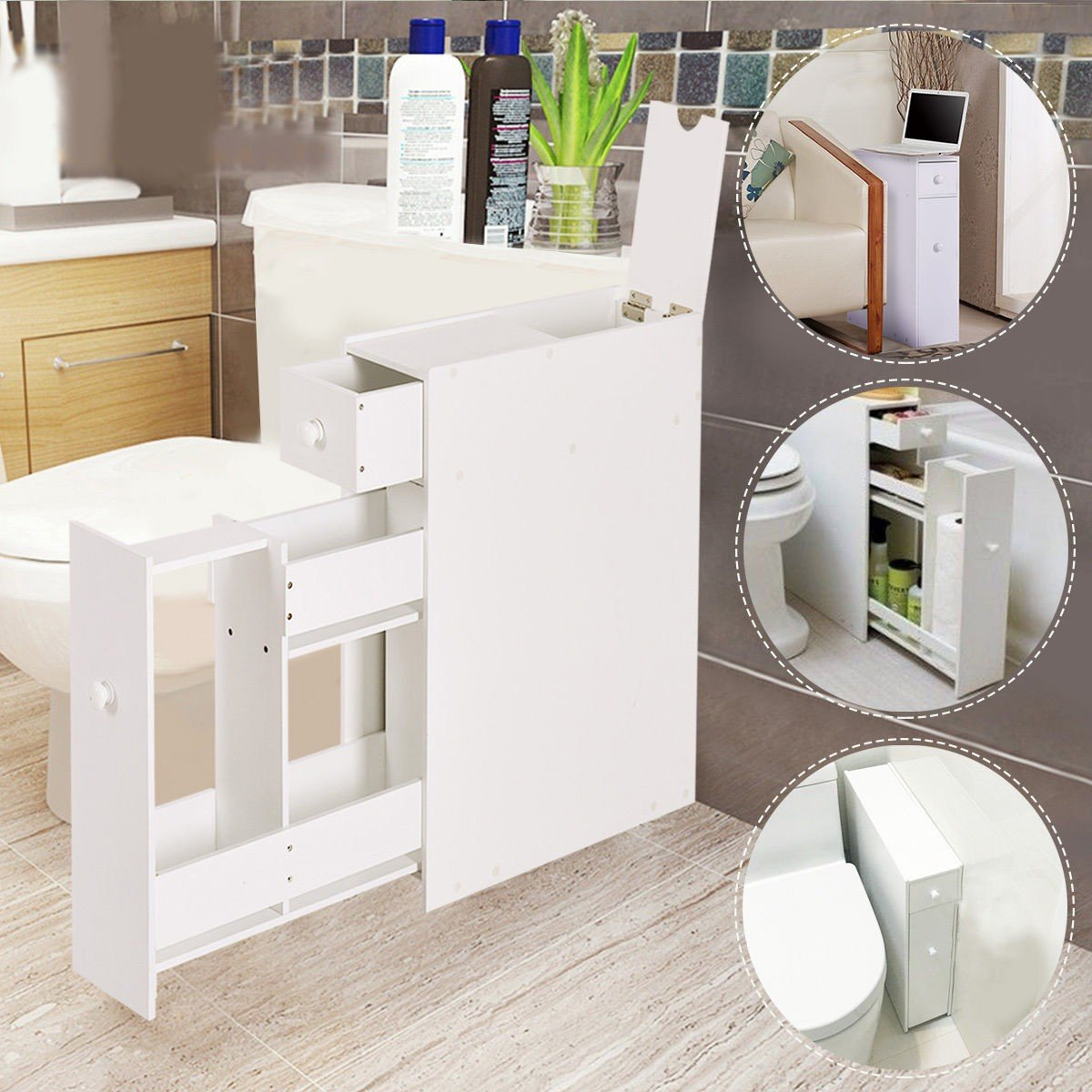 White Bathroom Cabinet Space Saver Storage Organizer