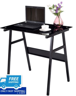 Black Glass Top Metal Leg Study Computer Desk