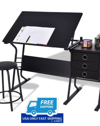 Black Adjustable Drafting Table w/ Stool & Side Drawers