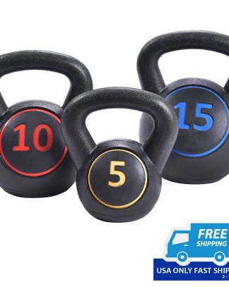 Home Gym 3 Pcs Vinyl Kettlebell Kit Body Muscles Training Weights 5 10 15lbs Set