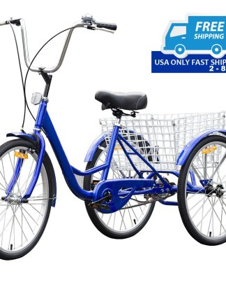 "24"" Blue Single Speed Tricycle with Adjustable Seat"