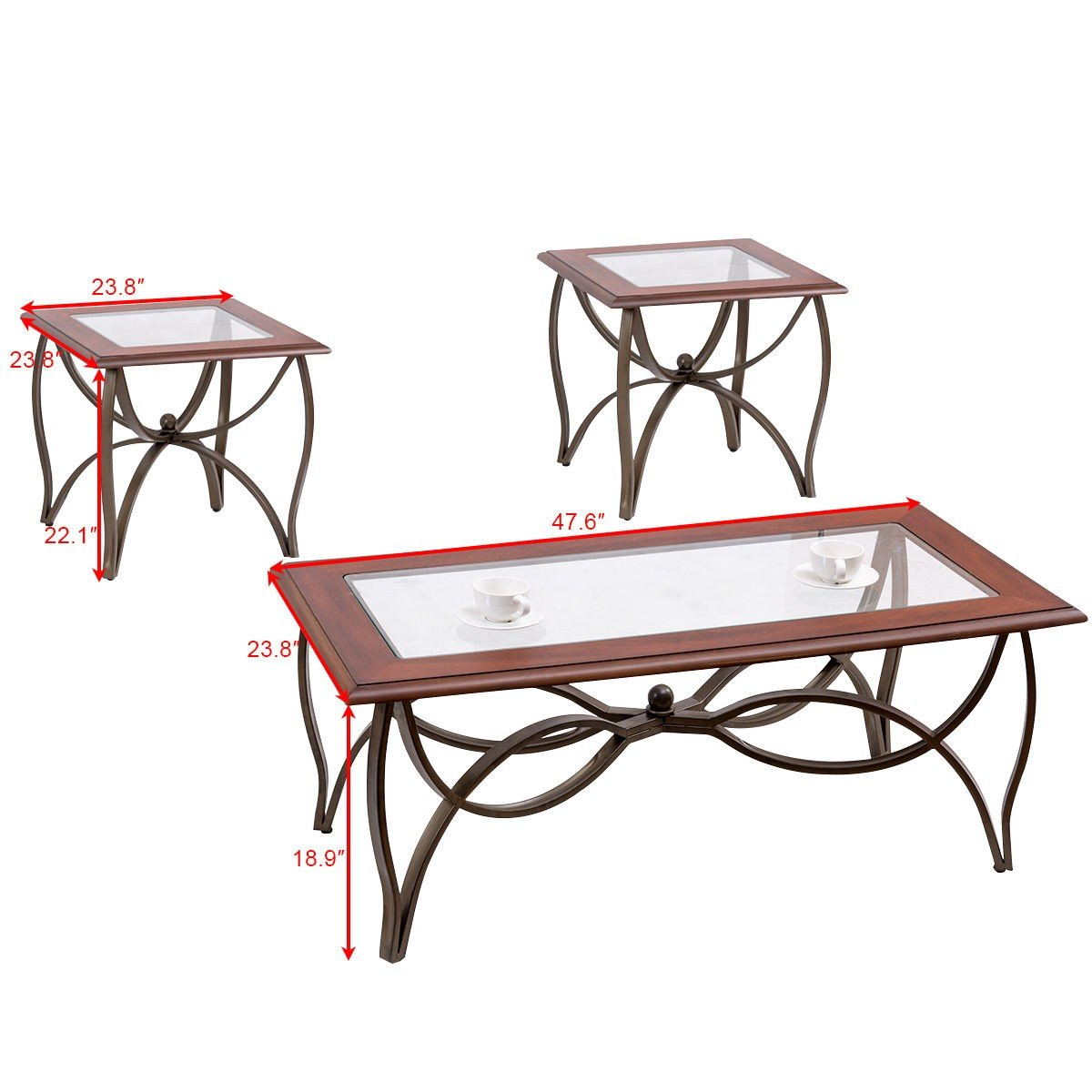 3 pcs elegant wood glass coffee table set by choice products Glass coffee table set