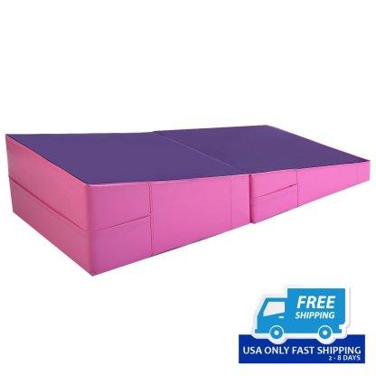 Pink/Purple Folding Incline Mat Slope Cheese Gymnastics Gym Exercise Aerobics Tumbling Wedge