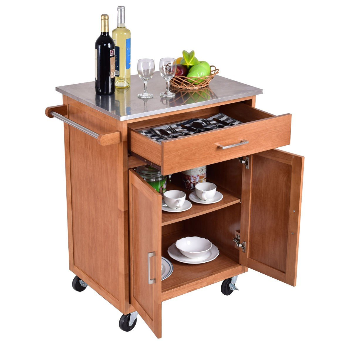 Wooden Kitchen Rolling Storage Cabinet with Stainless ...