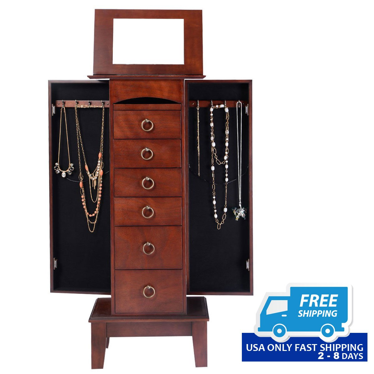 armoire bracelets stand cabinet rings dp dining w jewelry amazon white kitchen com necklaces mirrored mirror