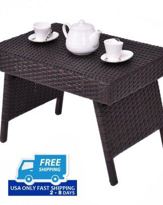 Mix Brown Patio Folding Rattan Side Coffee Table