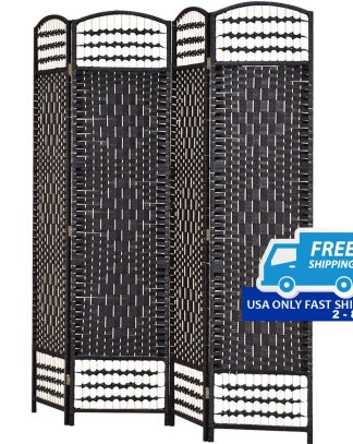 "67"" Folding Woven 4 Hinged Panel Freestanding Room Divider"