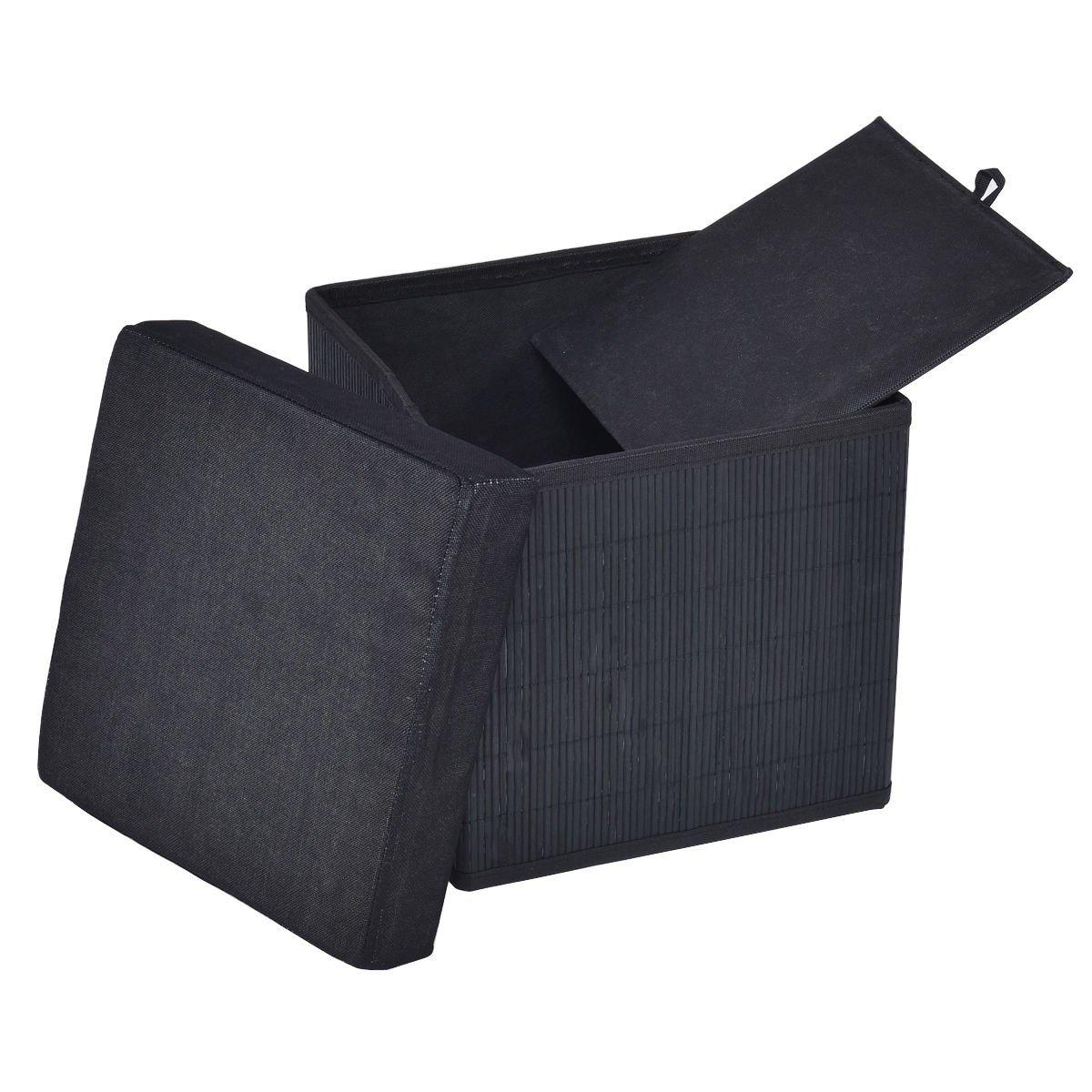 Swell Folding Bamboo Storage Cube Stool Ottoman Inzonedesignstudio Interior Chair Design Inzonedesignstudiocom