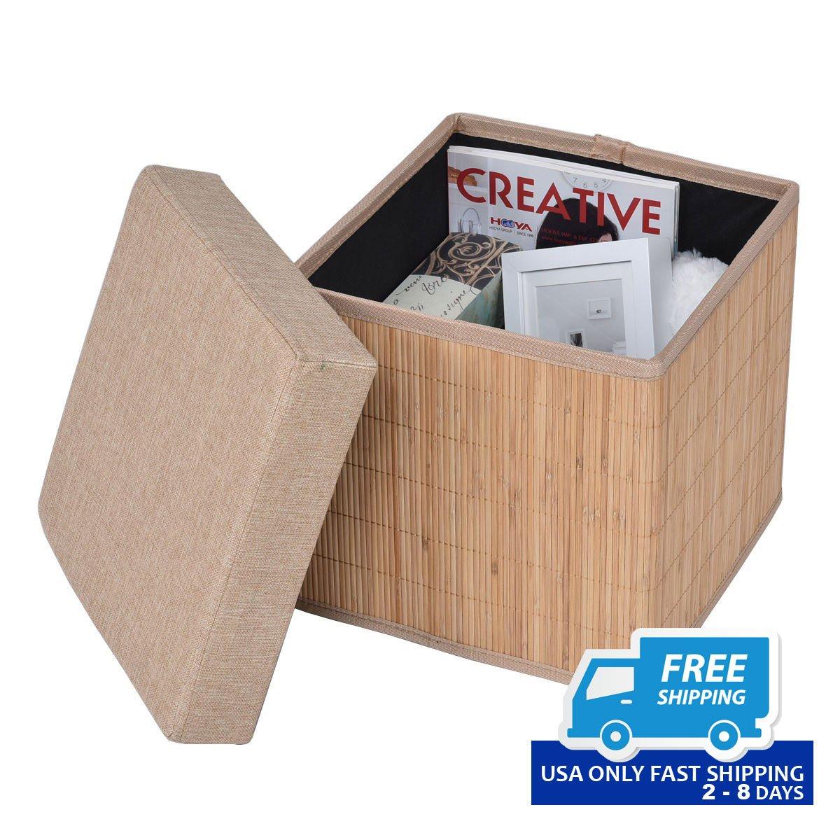 Folding Bamboo Storage Cube Stool Ottoman
