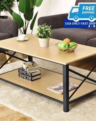 Wood Accent Coffee Table with Bottom Shelf