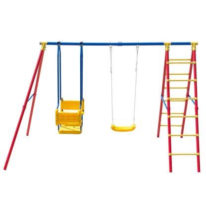 A-Frame Kids Swing Set Play Chair Ladder for 5 Children
