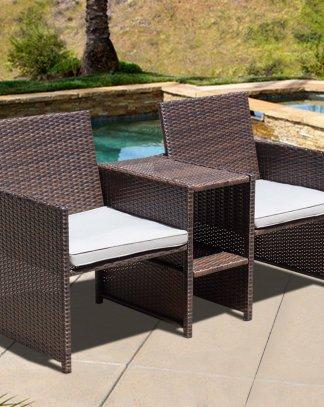 Outdoor Rattan Sofa Chair Furniture Set with Cushion