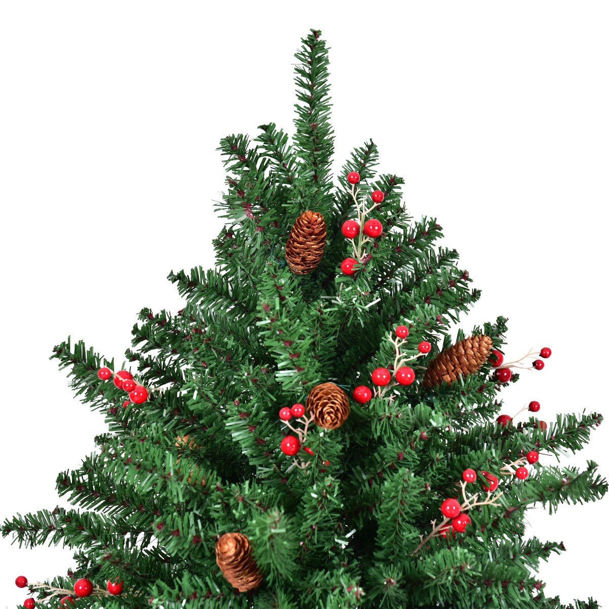 Red Red Pine Christmas Tree: 6′ / 7′ / 8′ Artificial PVC Christmas Tree W/ Pine Cones