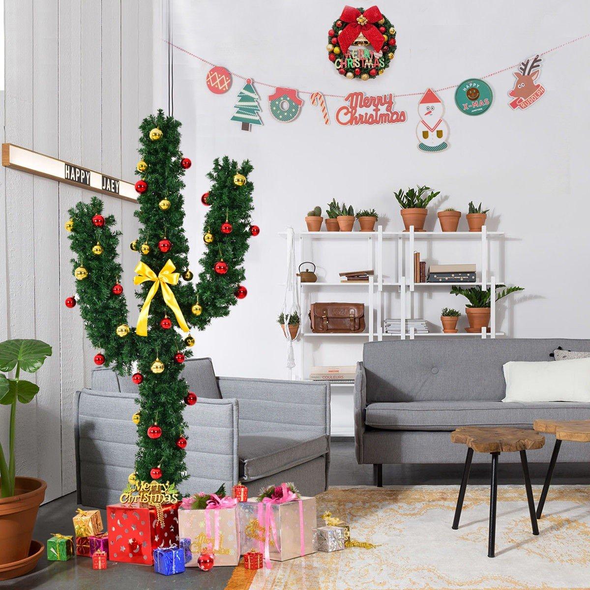 Cactus Christmas Tree.5 Artificial Cactus Christmas Tree W Lights And Ball