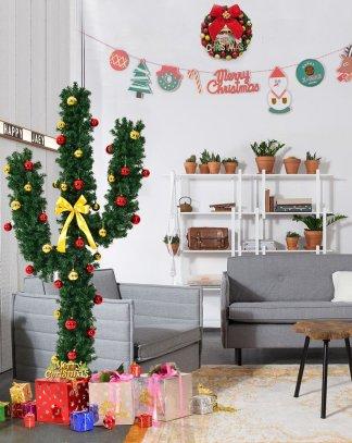 6' / 7' Artificial Cactus Christmas Tree w/ Lights and Ball
