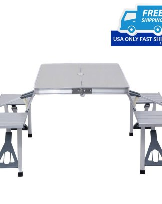 Aluminum Folding Picnic Table and Chair Set