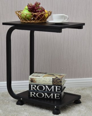 2-Tier Snack Stand Rolling Sofa Side Table