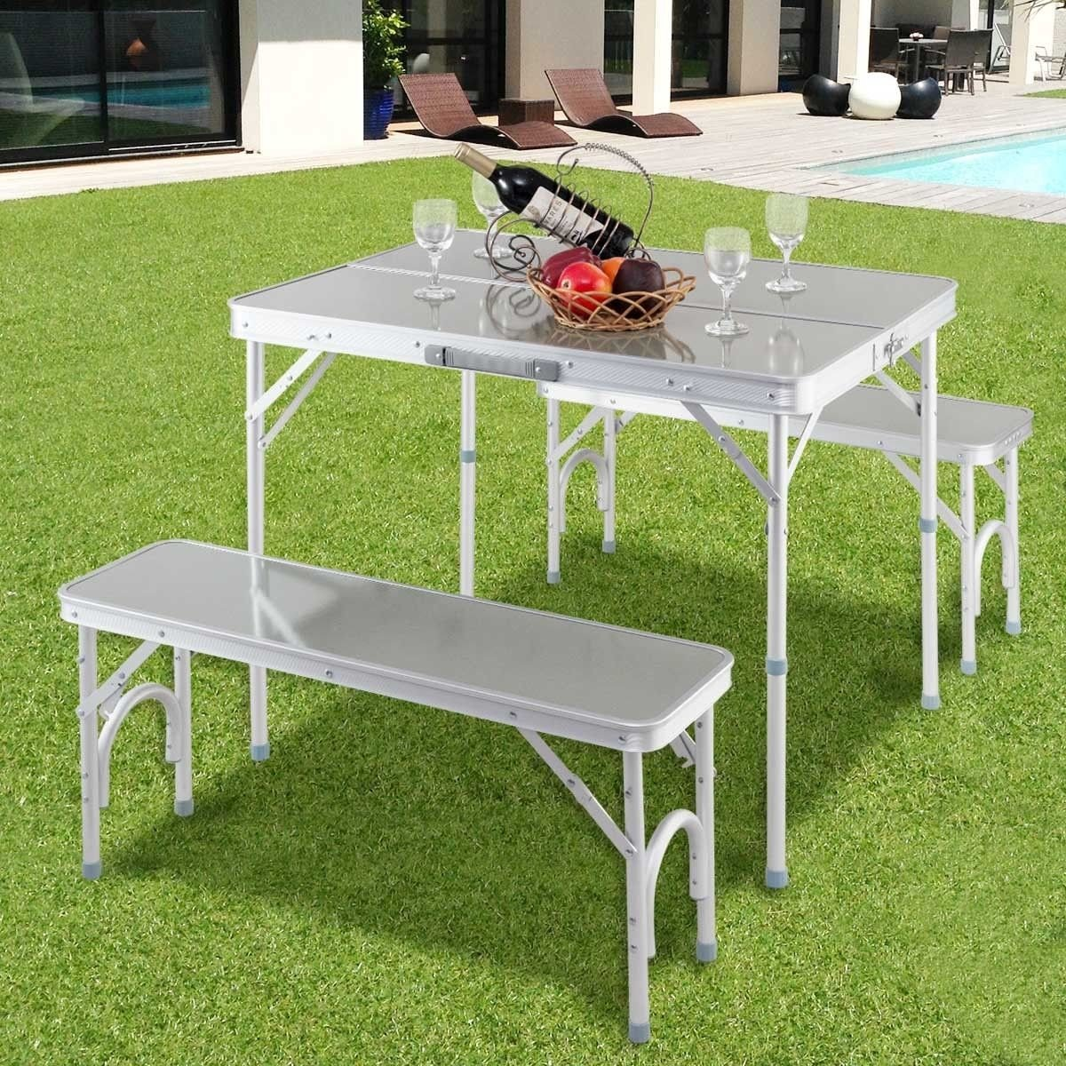 Aluminum Portable Folding Picnic Table With 2 Benches By