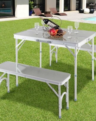 Aluminum Portable Folding Picnic Table with 2 Benches