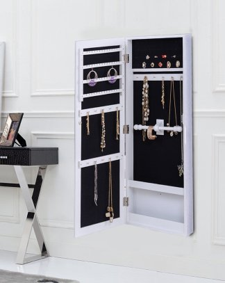Wall Mounted Mirrored Storage Jewelry Cabinet