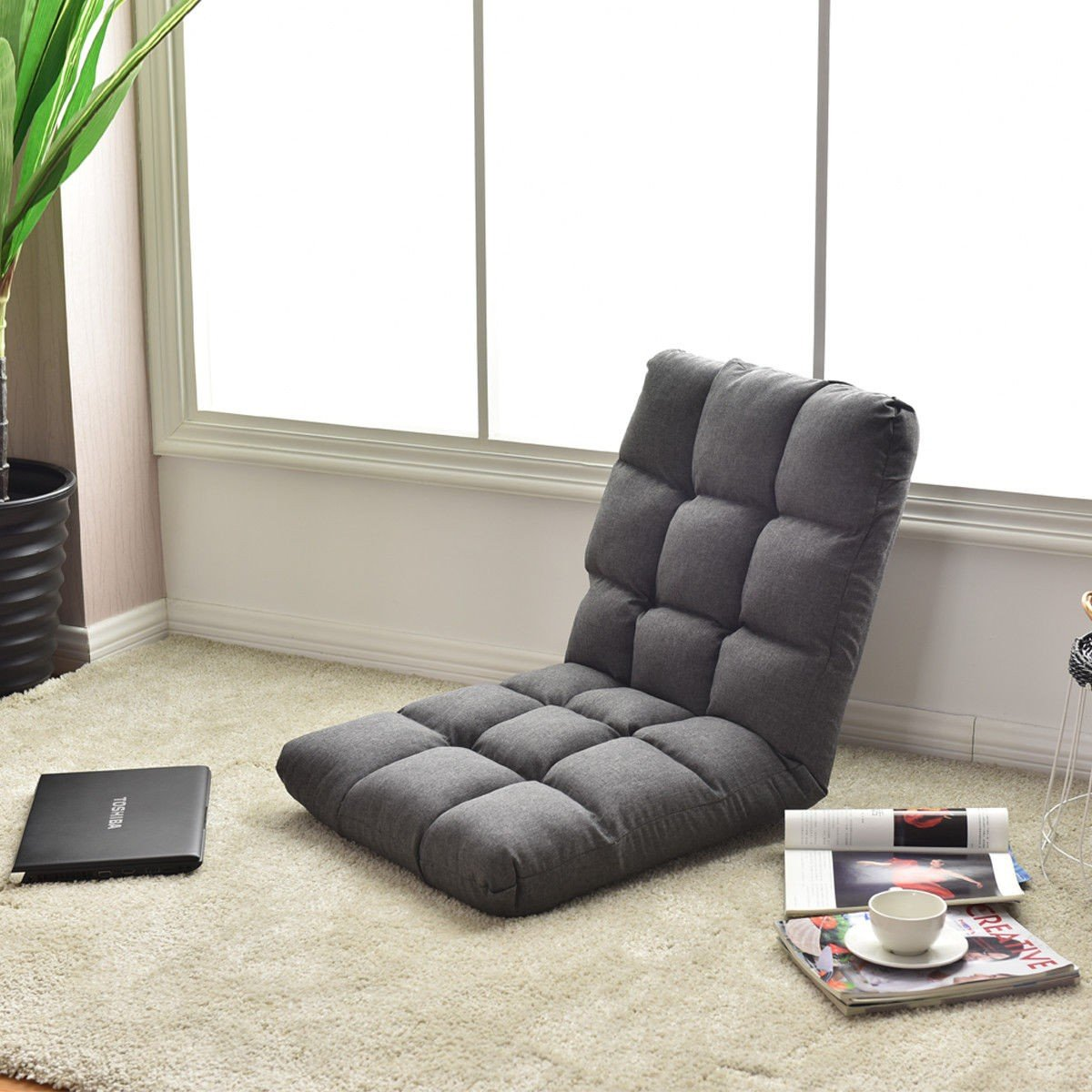 Wonderful 14 Position Adjustable Cushioned Floor Gaming Sofa Chair