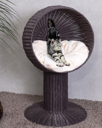 "17"" Ball Hooded Rattan Cat Bed with Cushion"
