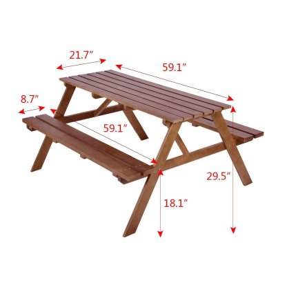 Outdoor Solid Pine Wood Picnic Table w/ Attached Bench