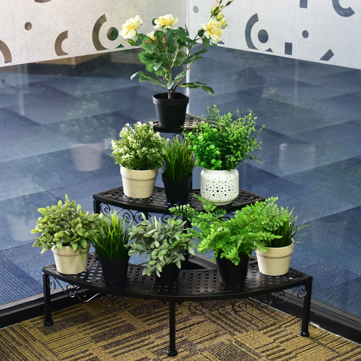 3 Tier Corner Metal Flower Ladder Plant Stand By Choice