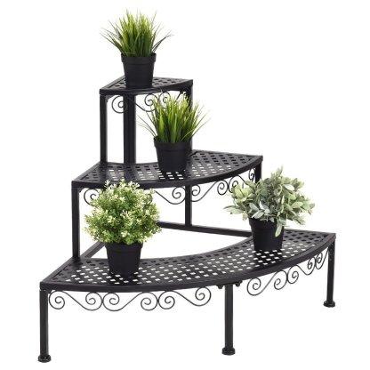3-Tier Corner Metal Flower Ladder Plant Stand