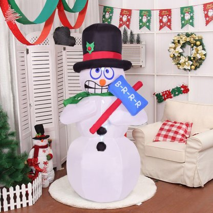 6' Indoor / Outdoor Shivering Christmas Snowman